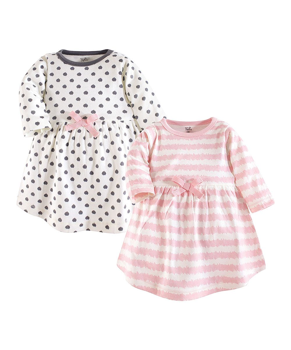 Touched by Nature Pink   White Stripe Long-Sleeve A-Line Dress   Gray  Dotted Long-Sleeve A-Line Dress - Infant  70dd3b0fe