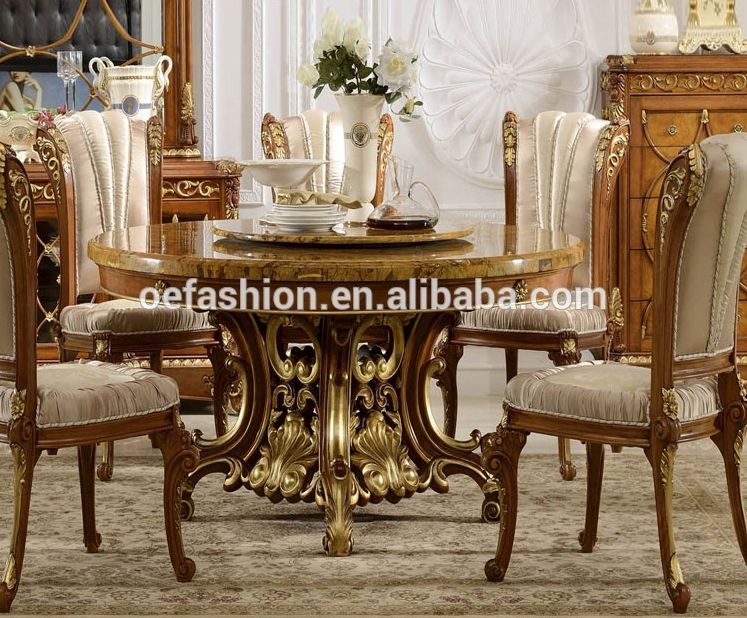 Oe Fashion Luxury French Style Marble Top Solid Wood Frame Round Dining Table View Glass Top Round Dining Table Oe Fashion Product Details From Foshan Oe Fash Dining Table Round Dining Table Dining Room