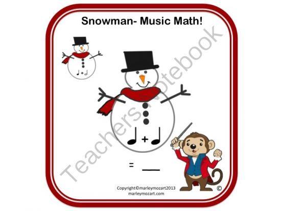 SNOWMAN MUSIC MATH WORKSHEET- ADD THOSE NOTES w Answer Key ...