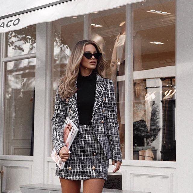 "Lipsy London on Instagram: ""Every woman needs a tweed suit… #FACT 💁🏻♀️💋✨ #LipsyAndBrands @nadaadellex 🔎 Jacket: L57570, Skirt: L57571"""