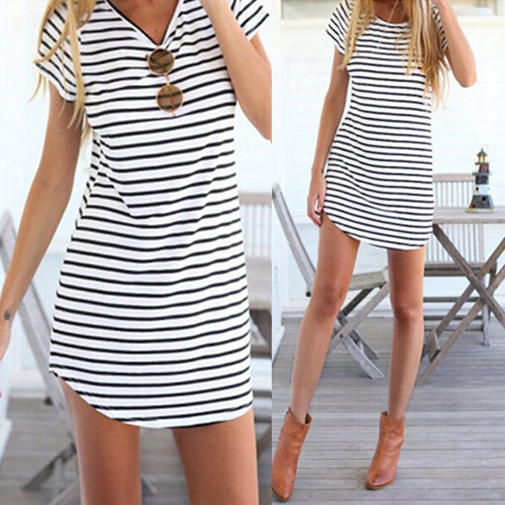 Women girls striped shirt casual oneck short sleeve loose tshirt