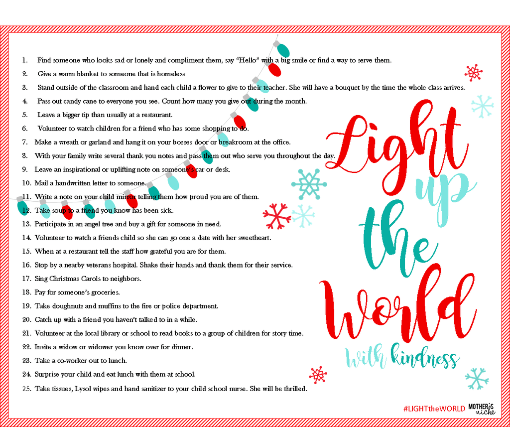 LIGHT UP THE WORLD: 25 WAYS TO SPREAD COMMUNITY KINDNESS + FREE ...