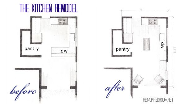 The Kitchen Floor Plans Before & After Bird