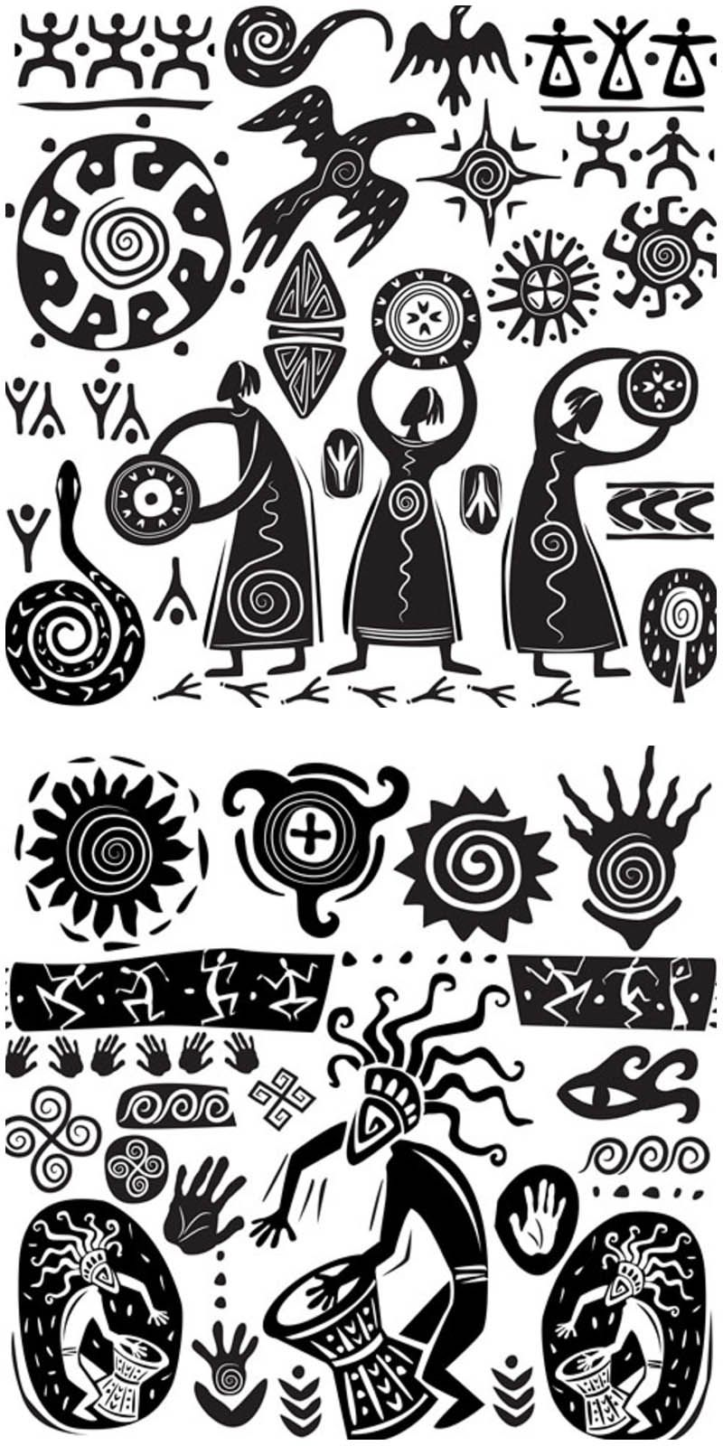 Primitive art elements vector #clipartfreebies