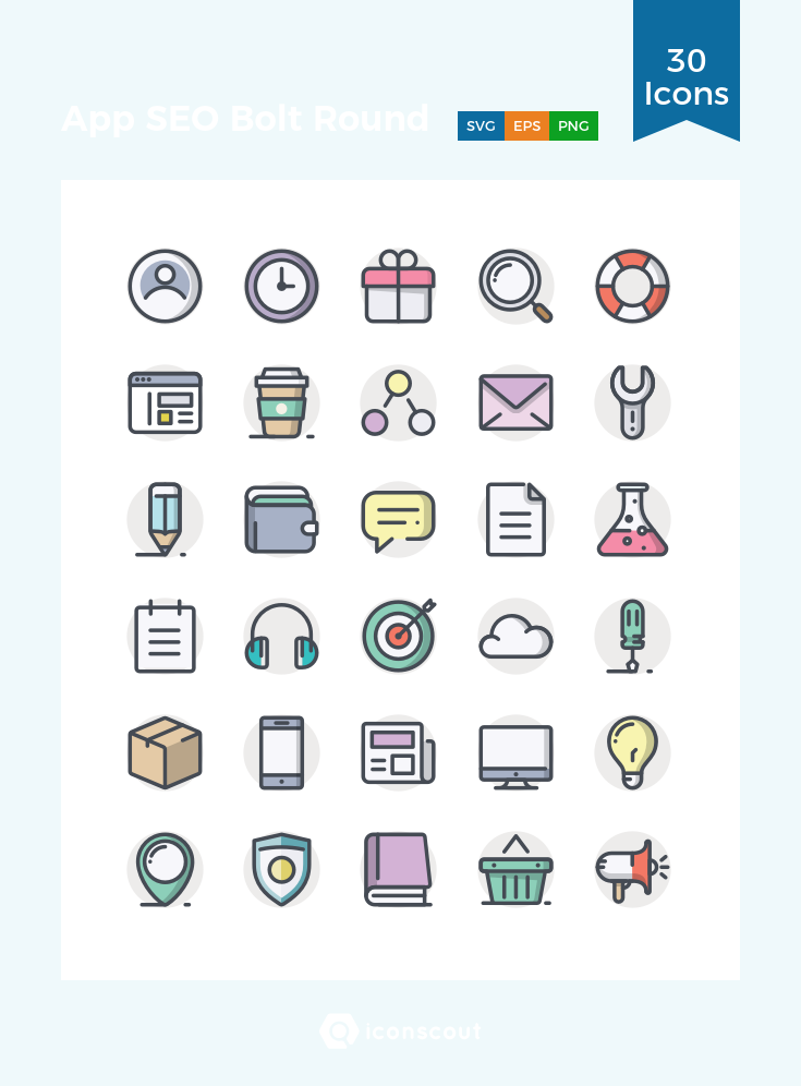 App SEO Bolt Round Icon Pack 30 Filled Outline Icons