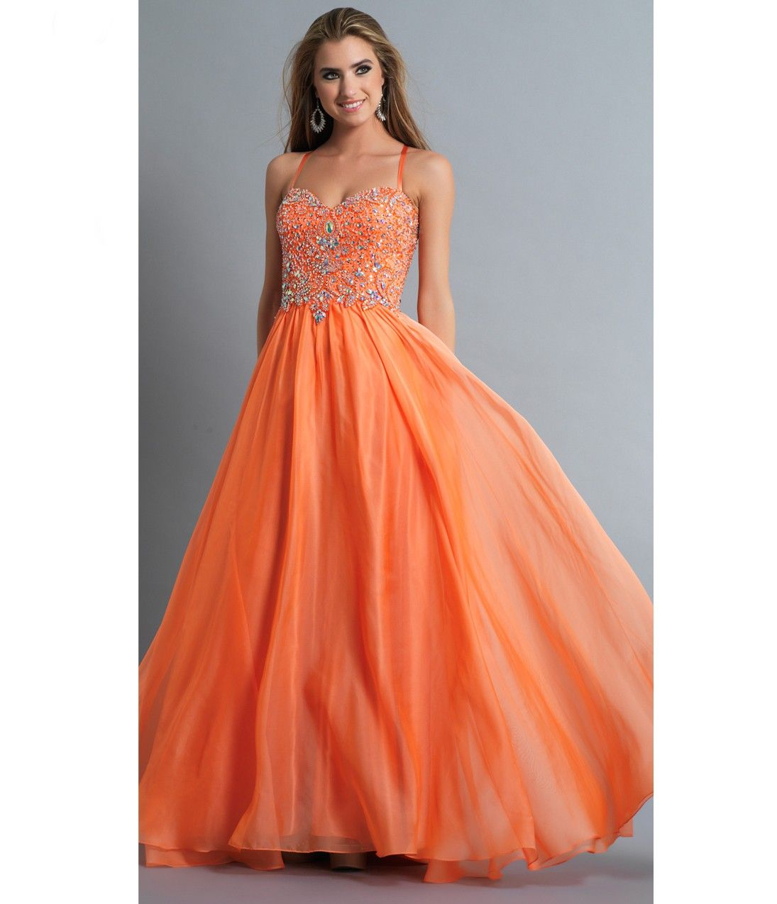 Orange Embellished Spaghetti Stap #Prom Gown | Neon Brights ...