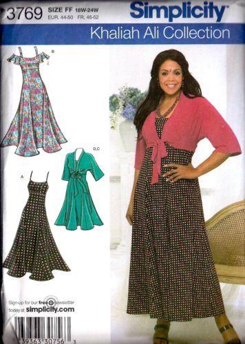 a04af693b4f Simplicity Sewing Pattern 3769 Plus Size Dress Kimono Top 18W 24W Uncut