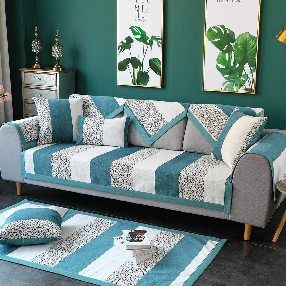 Tewene Couch Cover Sofa Cover Sofa Slipcover Couch Slipcover Antislip Sectional Slipcover For Dogs Sectional Couch Cover Living Room Recliner Blue Living Room