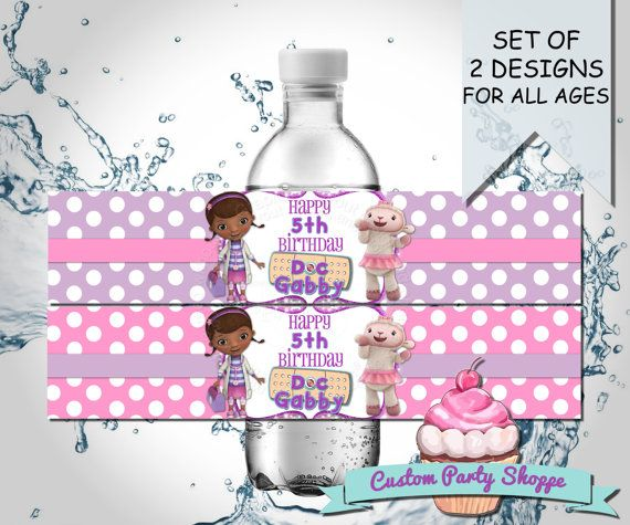 Pin By Abby Onkst On Nora S 5th Birthday: DOC MCSTUFFINS BIRTHDAY Party Water Bottle Label Party