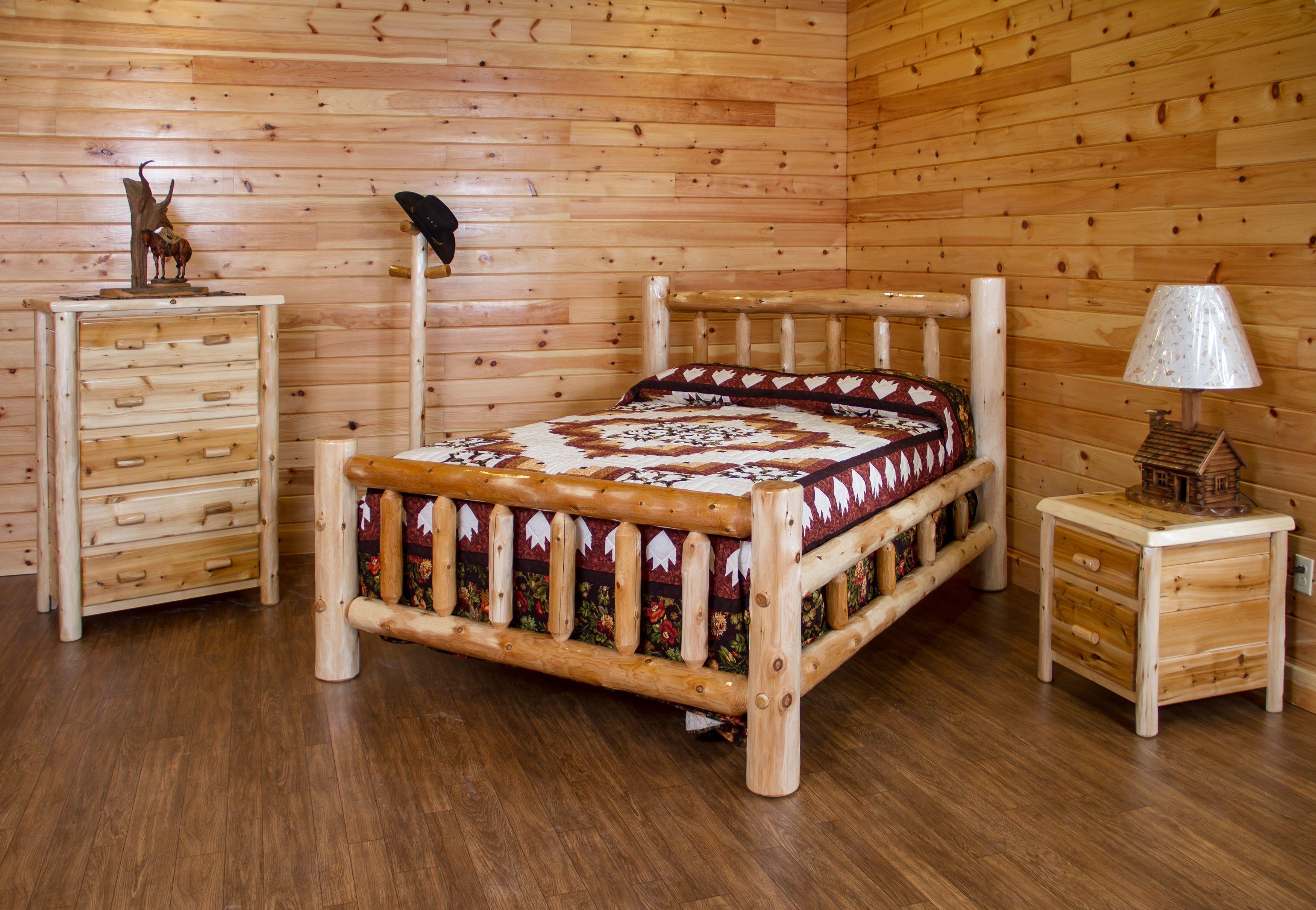 White Cedar Log Bedroom Set Bed, Dresser, Nightstand