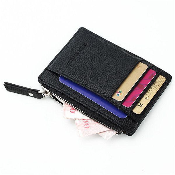 Slim Super Thin Business Card Holder Zipper Credit Case Coin Bags Portable Purse