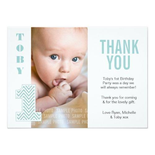 Baby Boy Chevron 1st Birthday Thank You Photo Card Baby Boy