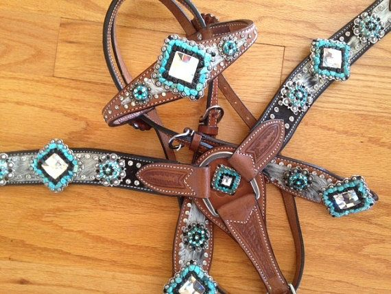 Turquoise and Large Mosaic Crystal Tack Set by RodeoMoon on Etsy