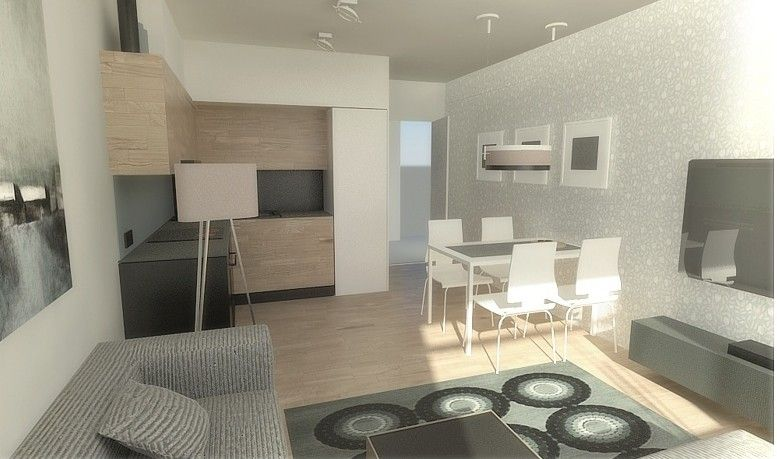 Aranzacje Wnetrz Salon Z Aneksem Kuchennym Na 18 M Kw Aranzacja Wnetrza Home Decor Home Furniture