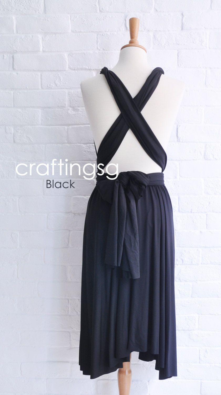 Bridesmaid dress infinity dress black knee length wrap convertible