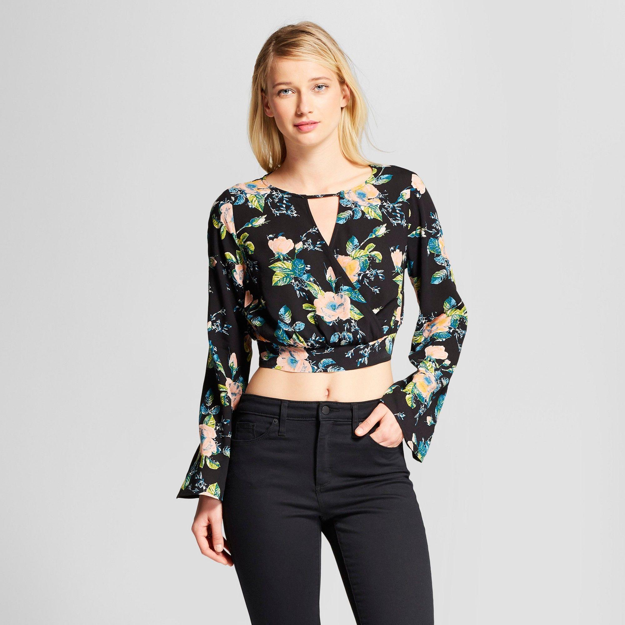 239bc12ddaaeb Women s Floral Print Long Sleeve Wrap Bell Sleeve Crop Top - Xhilaration  Black S
