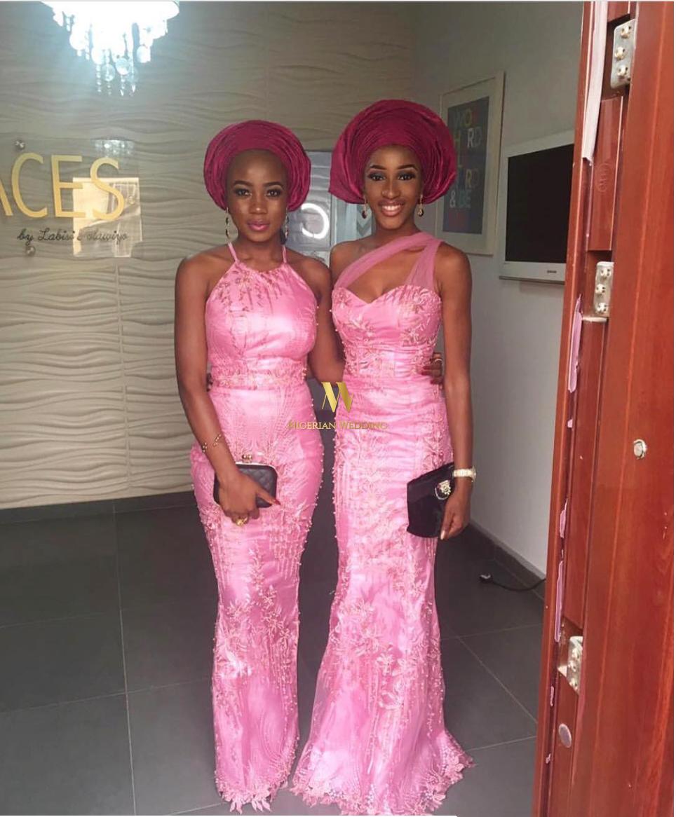 Nigerian Celebrity Wedding See Glam Aso Ebi Belles Gentlemen At