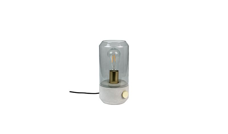 Table Lamp Kato Painted Glass Shade With Smoked Look Concrete Base With Brass Plated Iron On Off Dimmer Switch And Lamp Lamp Holder Glass Shades Dimmer Switch