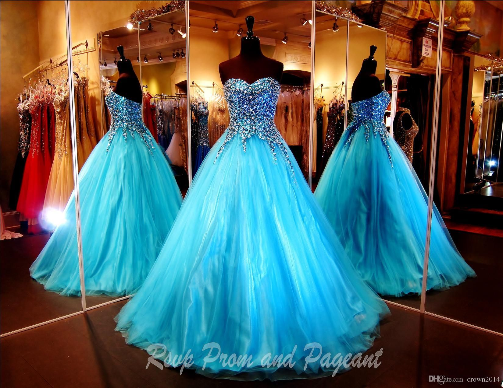 Turquoise Ball Gown Prom Dresses 2017 Sweetheart Strapless Multi ...