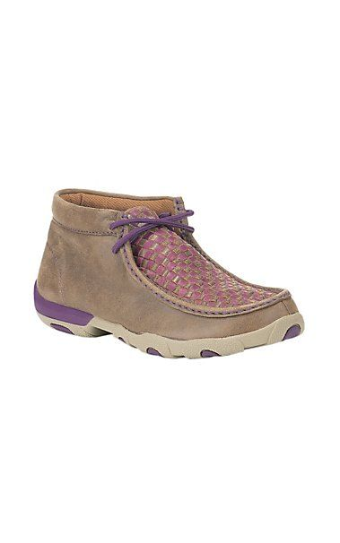 51f948972e1 Twisted X Ladies Brown with Purple Checkered Pattern Driving ...