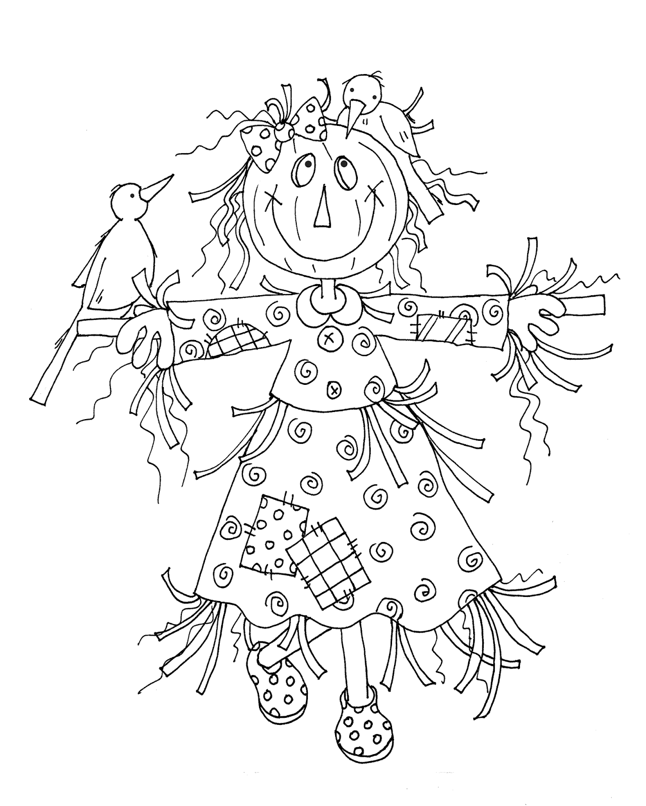 Girl Scarecrow and Birdie Friends | andrea | Pinterest