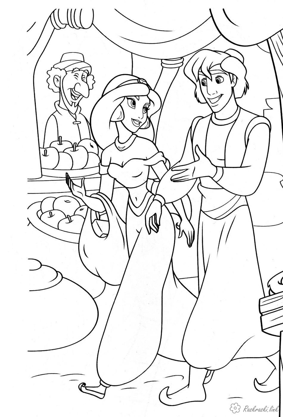 Детская раскраска по мультфильму Алладин | Раскраски ...