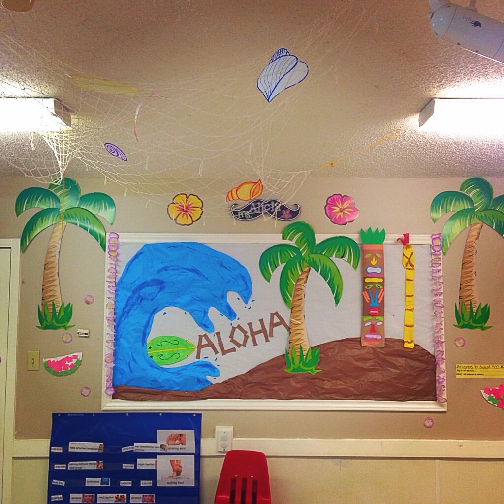Classroom Luau Ideas : Hawaii bulletin board for my classroom pre k