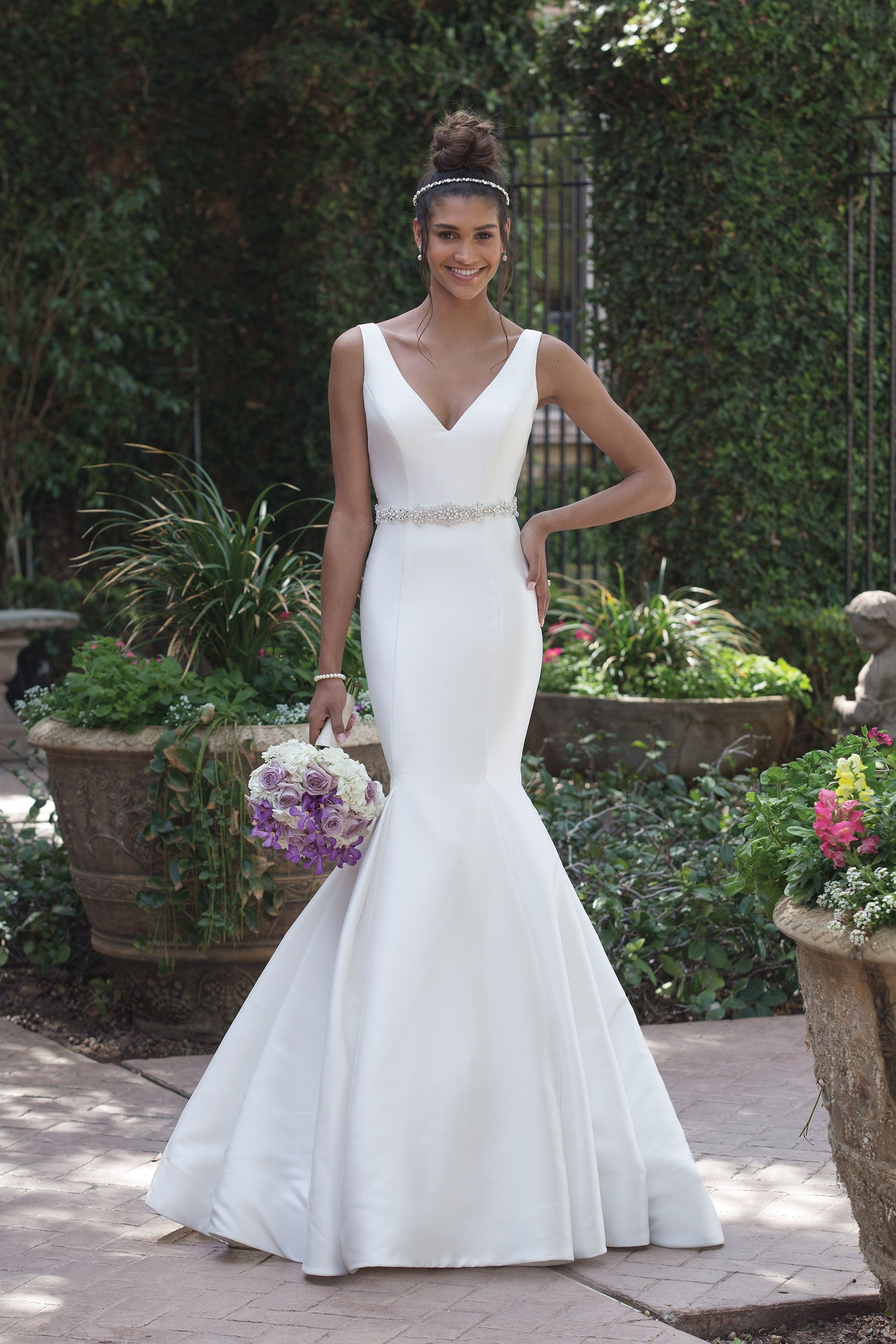 f951fc58f11d Sincerity Bridal 4008 Ivory/Silver Size 14 Mikado Mermaid Gown with  Plunging Back