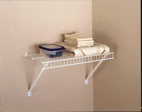 Rubbermaid 24 X 12 White Wire Shelf Kit At Menards Shelves Laundry Room Design Hanging Cabinet