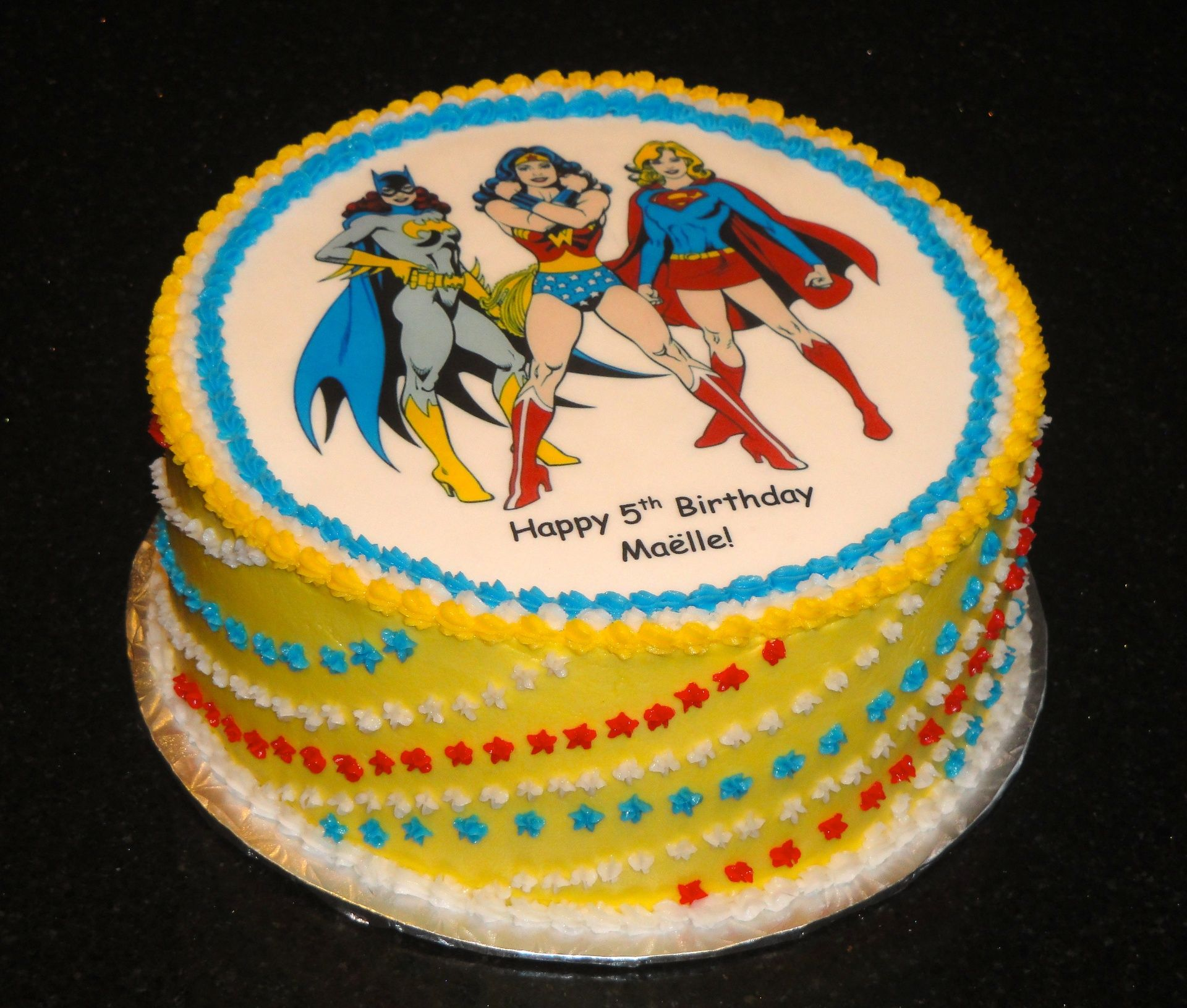 Super Hero Birthday Cake. With Batgirl, Wonder Woman, And