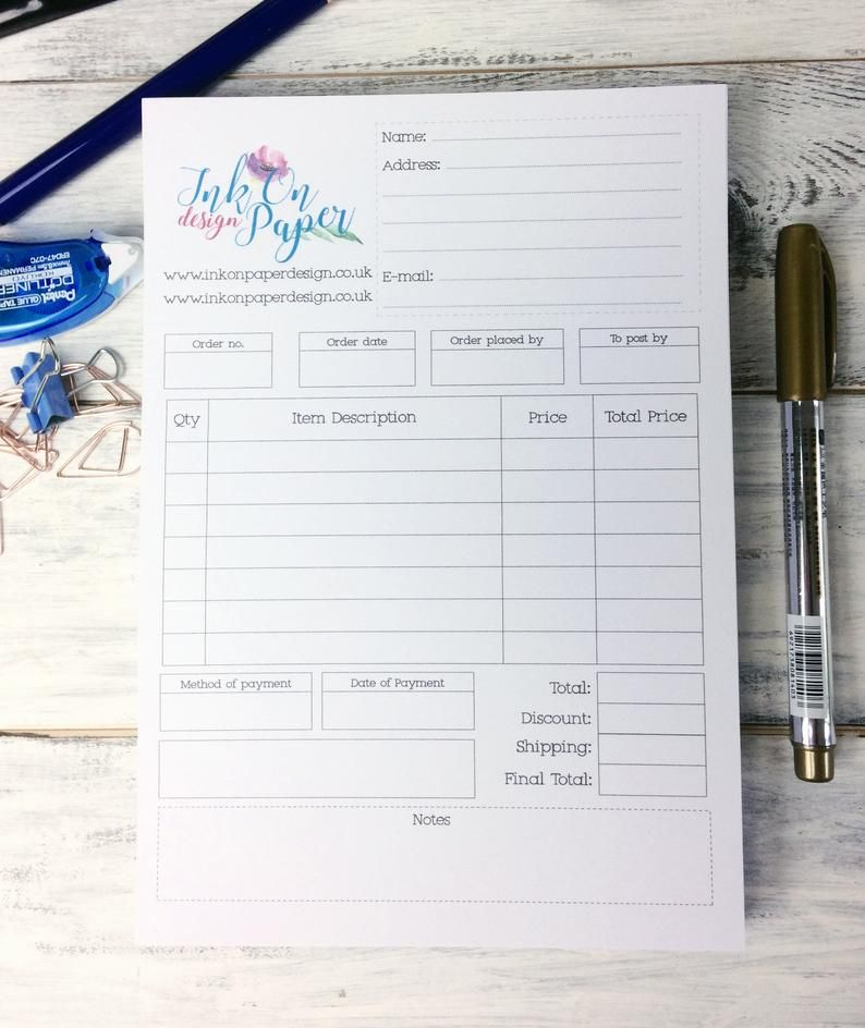 order receipt book custom order form size a5 sellers