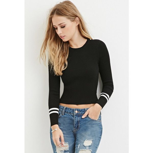Forever 21 Forever 21 Womens Stripe Sleeve Knit Top 15 Liked