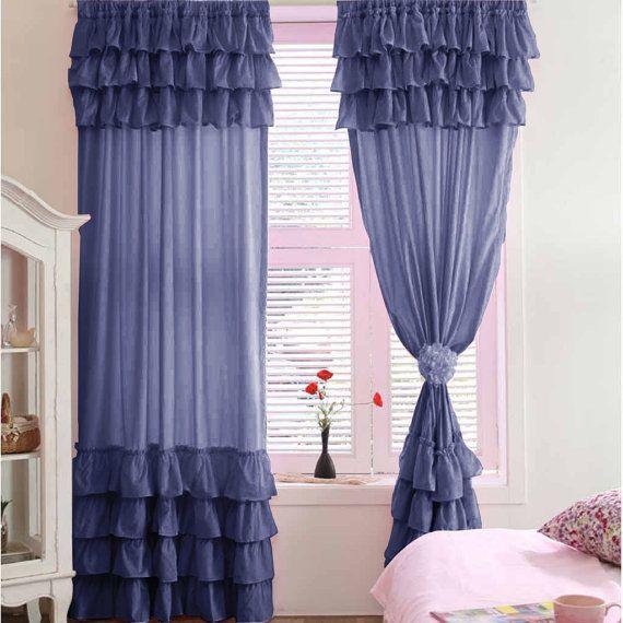 Navy Blue Blackout Waterfall Window Ruffle Curtains   Microfiber 2 Panel W  By