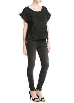 MANGO - NEW - Sweatshirt met korte mouwen