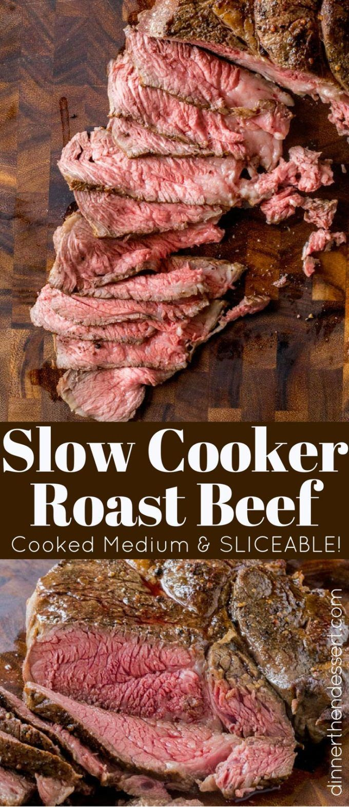 Slow Cooker Roast Beef That You Can Slice Into Tender Slices Cooked To A Perfect Medium Tempe Slow Cooker Roast Beef Slow Cooker Roast Slow Cooker Recipes Beef
