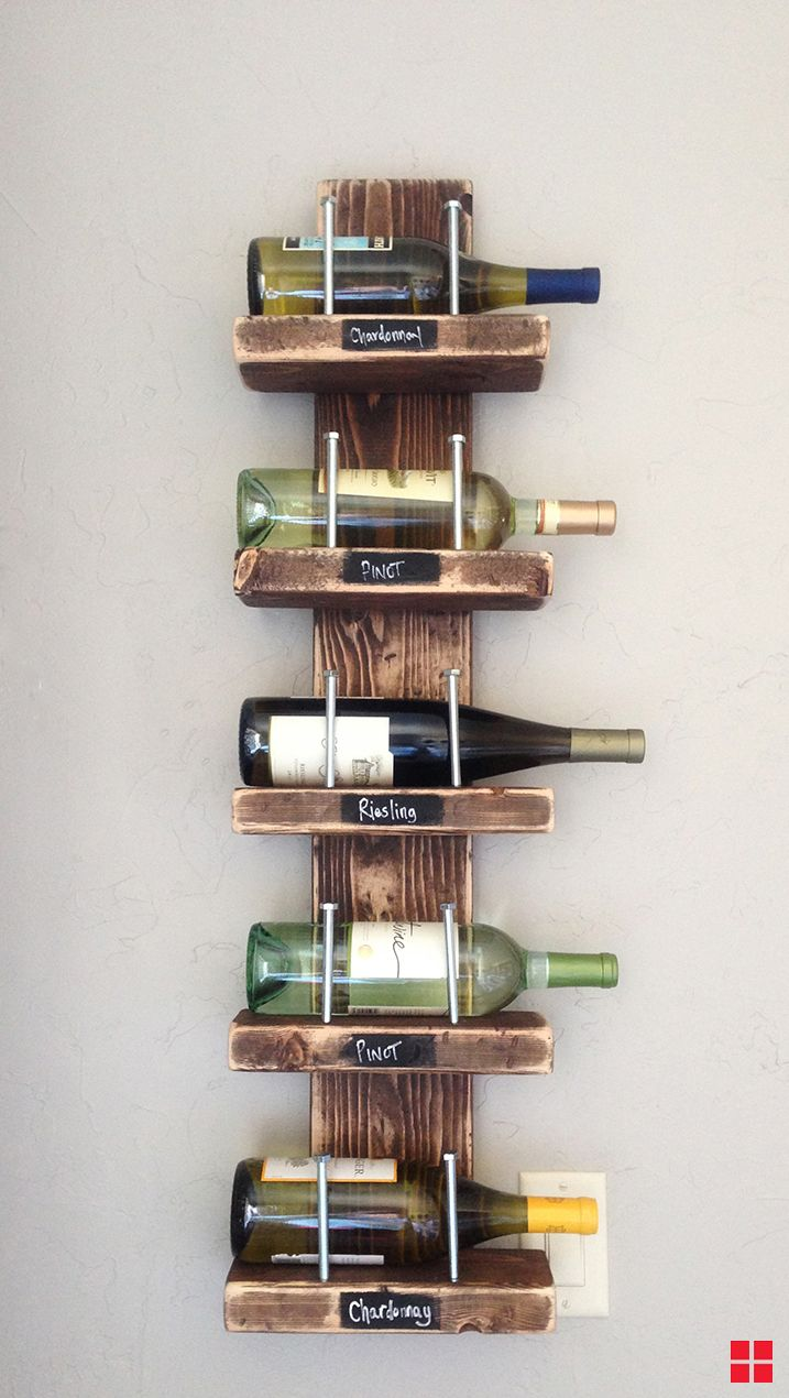 Stained Wooden Vertical Wine Holder