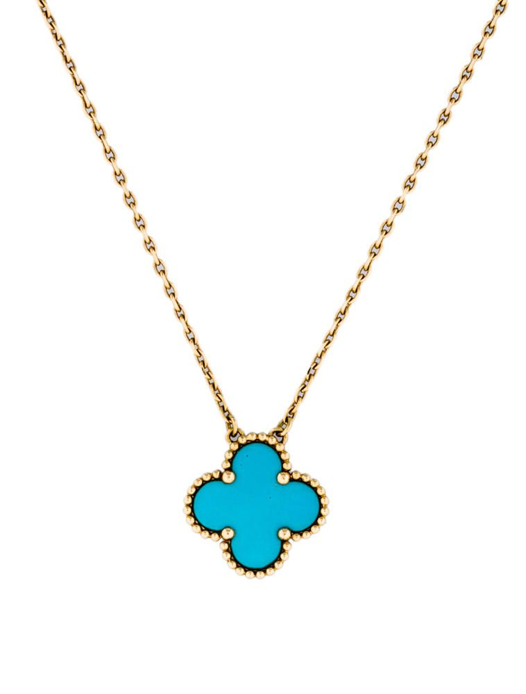 K yellow gold chain necklace with turquoise clover pendant in round k yellow gold chain necklace with turquoise clover pendant in round bead setting and lobster clasp mozeypictures Image collections