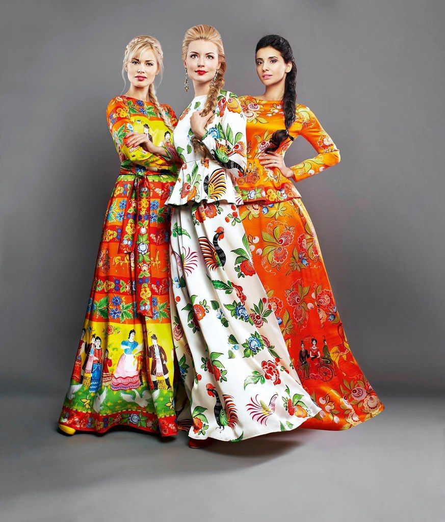 """Ivolga"" dresses by Pavel Ryabinin Russian traditional style"