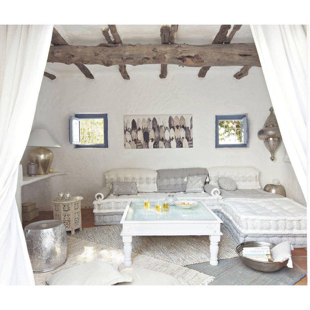 Tavolini Salotto Maison Du Monde.Tavolino Da Salotto In Legno Di Mango Scolpito Sbiancato Modular