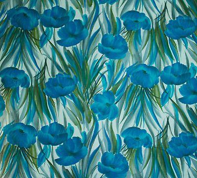 d775087e50 vintage 1950s big blue flower print cotton dress fabric | Vintage ...