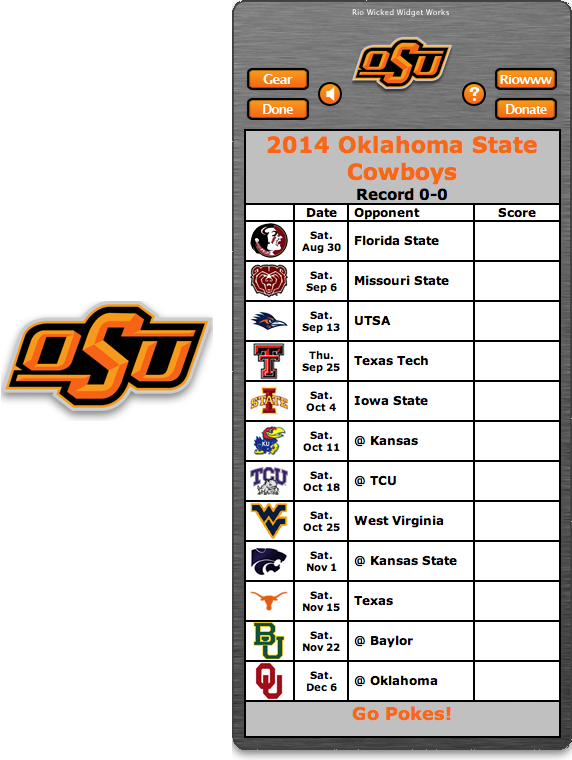 Free 2014 Oklahoma State Cowboys Football Schedule Widget