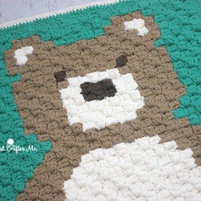 Crochet C2C Bernat Blanket Bear | COBIJAS DIBUJOS | Pinterest