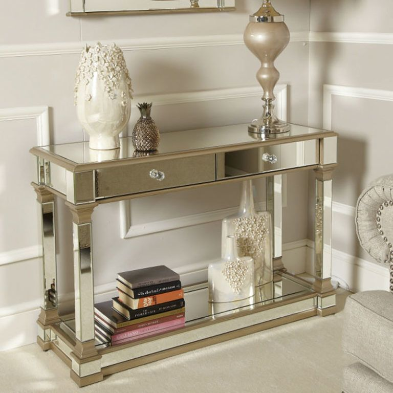 Athens gold mirrored 2 drawer console table inredning
