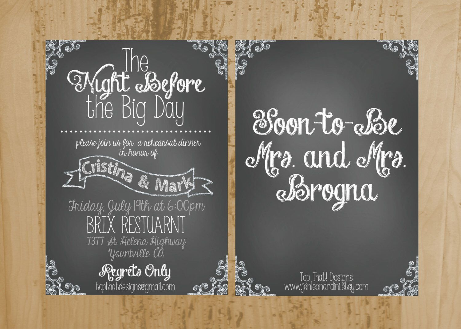 chalkboard style rehearsal dinner invitation printable by