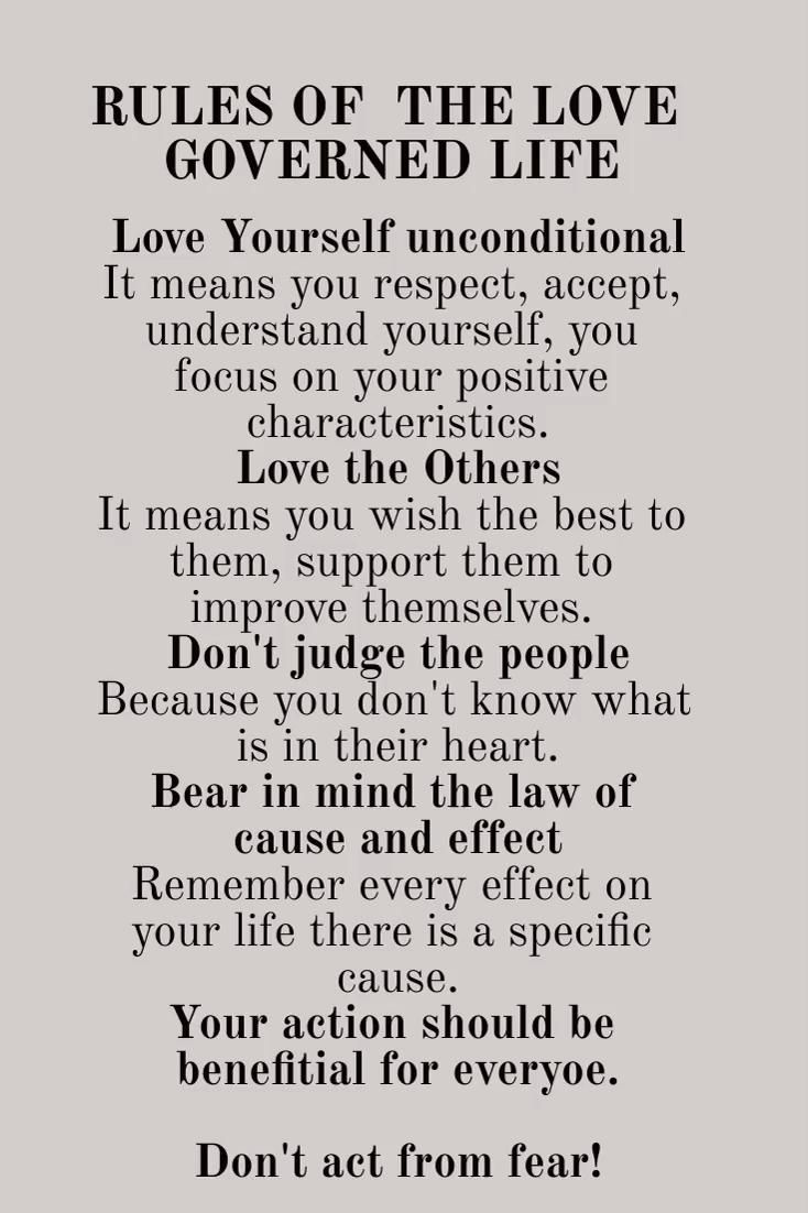 Rules of the love governed life