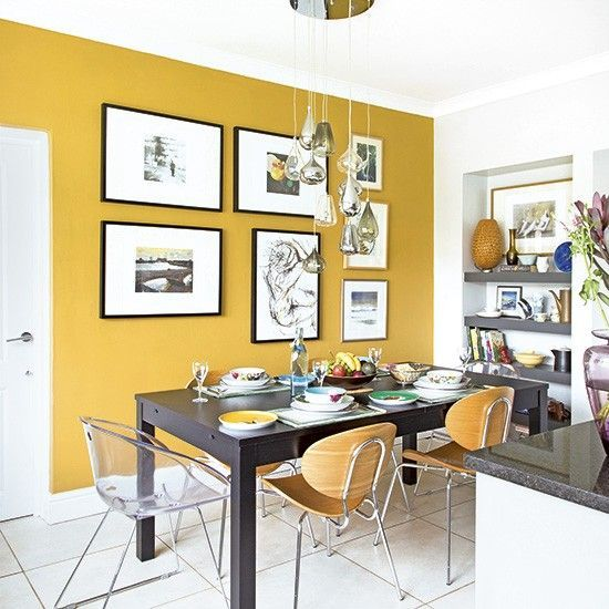 Good Want Kitchen Diner Decorating Ideas? Take A Look At This Compact Scheme  With A Yellow Feature Wall For Inspiration