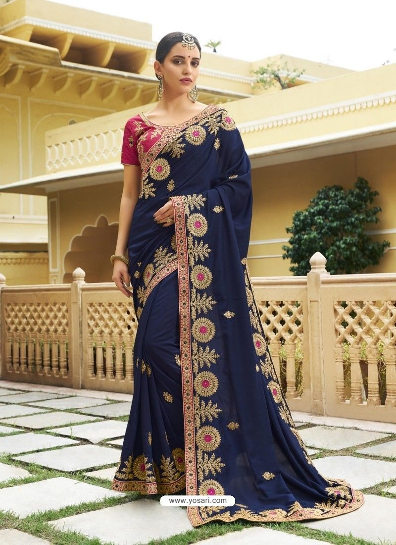 7dd7010b8 Navy Blue Embroidered Designer Silk Wedding Saree