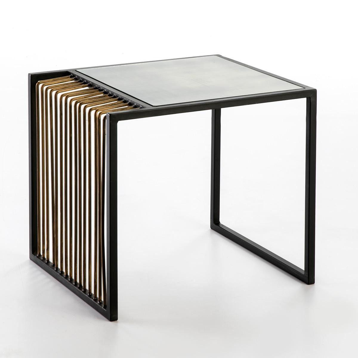 Thai Mobilier Table D Appoint Miroir Vieilli Pieds Metal Noir Et Dore Kiara Lestendances Fr Miroir Vieilli Table D Appoint Table De Chevet