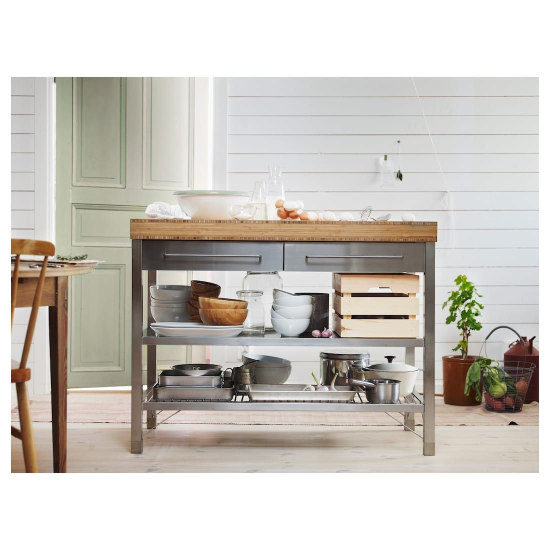 Rimforsa Work Bench Stainless Steel Bamboo Ikea Ikea Kitchen Island Kitchen Island Ikea Hack Kitchen Furniture