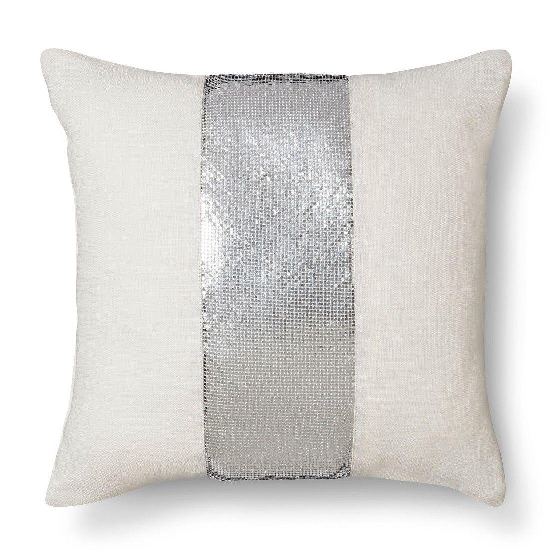 Nate Berkus� Metallic Mesh Pillow - White